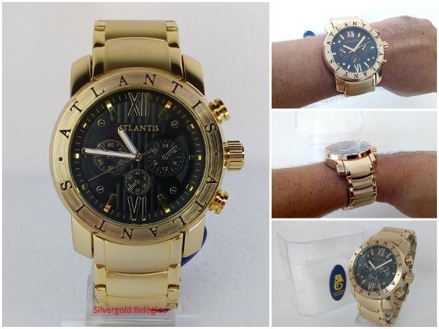 Relógio Atlantis Masculino A-, Dourado com Preto, Novo,
