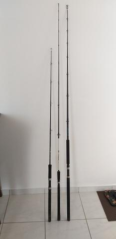 Varas de pesca e molinete