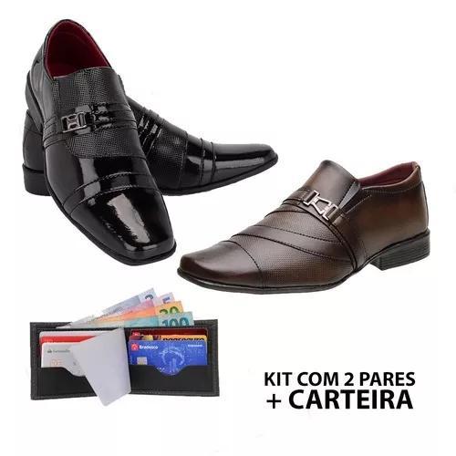Kit Europeu 2 Pares Sapato Social Masculino+carteira