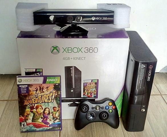 Xbox completo na caixa, HD com 46 jogos, Kinect, manuais