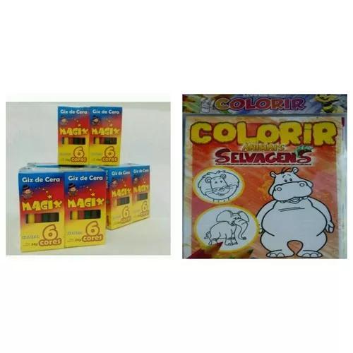 30 Livrinhos De Colorir 18x13 Cm + 30 Cxs Giz De Cera