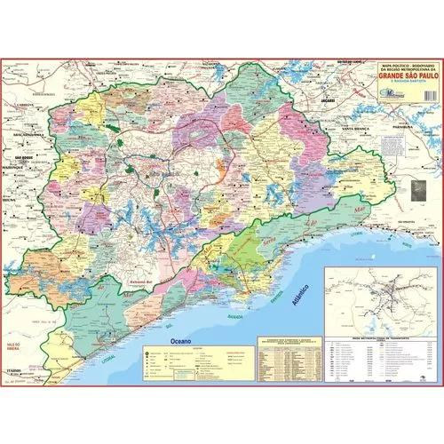Mapa Gigante Da Grande São Paulo E Litoral - Tam 0,90 X