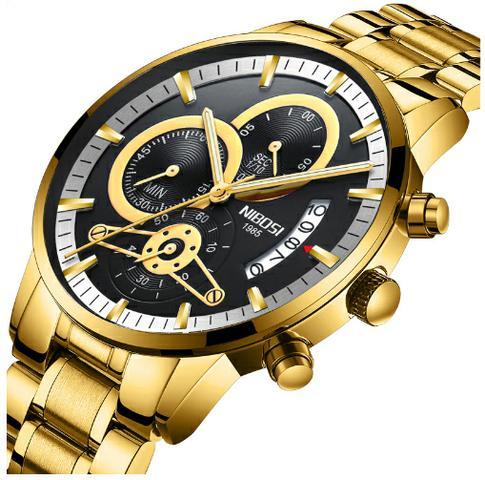 Relógio Original Nibosi Dourado Fundo Branco Funcional À