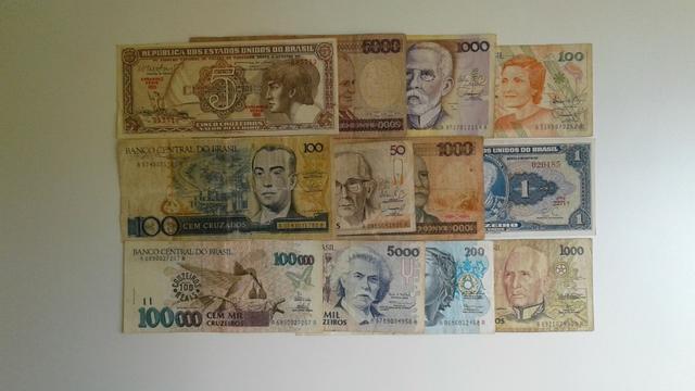 Lote com 12 notas de dinheiro antigas do Brasil