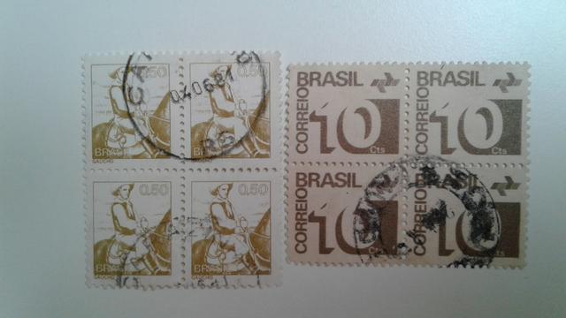 Lote com 2 quadras de selos antigos do Brasil