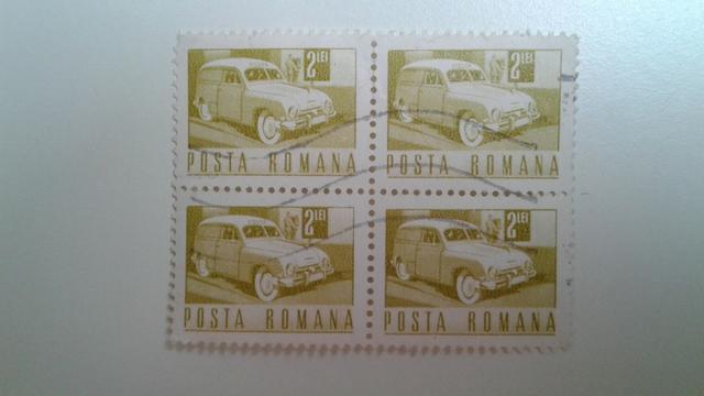 Lote selos quadra da Romênia série Transporte