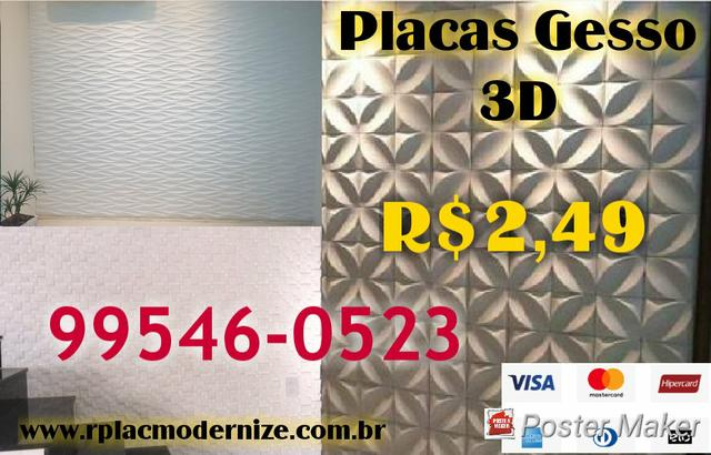 Placas Gesso 3D R$2,49 cada