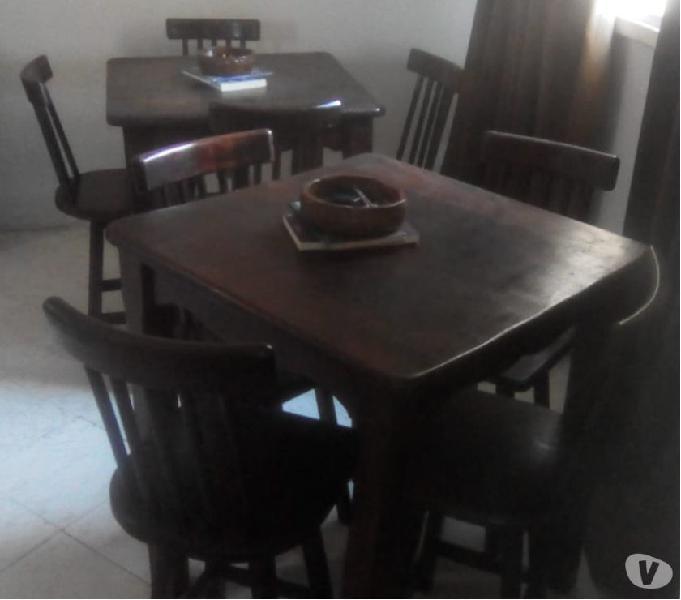 Conj. de Mesa com 04 cadeiras,madeira maciça estilo country