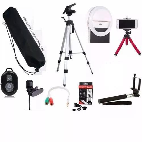 Tripe 1,00 Metro Anel Led Ring + Kit Youtuber Para Celular