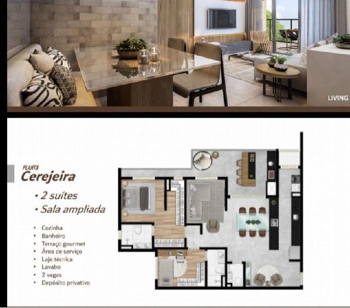 Apartamento 106m2 3 dorm com suíte 2 vagas