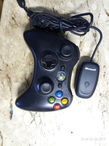 Controle Xbox 360 + adaptador pra pc, notebook