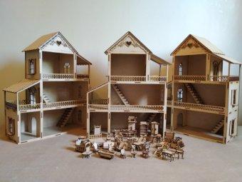 Casinha de boneca com 38 móveis
