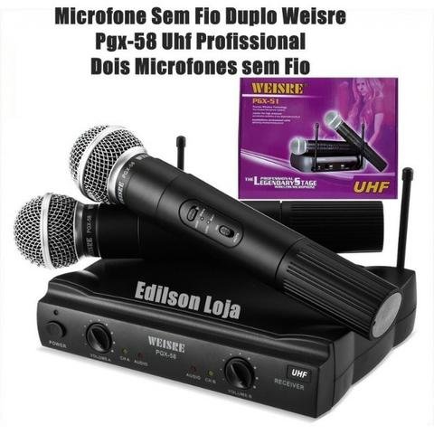 Microfone Sem Fio Duplo Uhf Wvngr Sm-58ii 220v e 110v bivolt