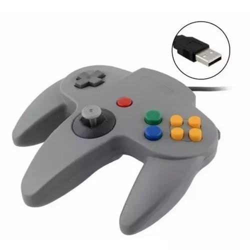 Controle Retro Usb Nintendo N64 Cinza Para Pc Mac Linux Cinz