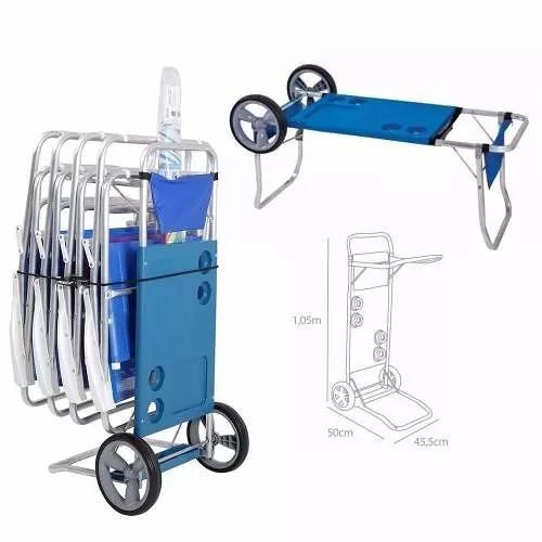 Carrinho De Praia Vira Mesa Aluminio P/ Ate 5 Cadeiras - Mor