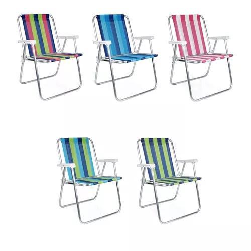 Kit 2 Cadeiras De Praia Alta De Alumínio Mor