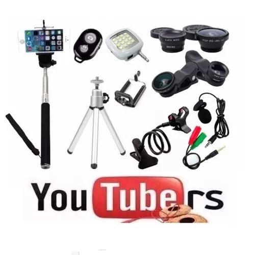 Kit Youtuber Mini Tripé Bastão De Selfie Microfone Suporte