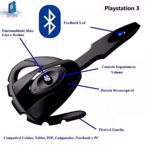 Headset exclusivo para ps3 sem fio via Bluetooth