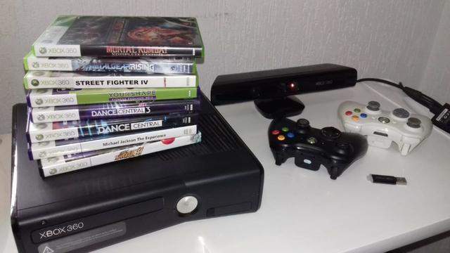 Xbox 360 S Modelo  travado + Kinect + 8 Jogos originais
