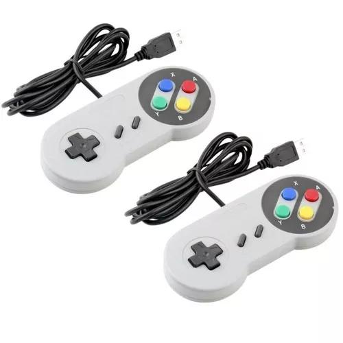 Controle Nintendo Usb Joystick Super Snes Jogos Pc - Kit 2 U