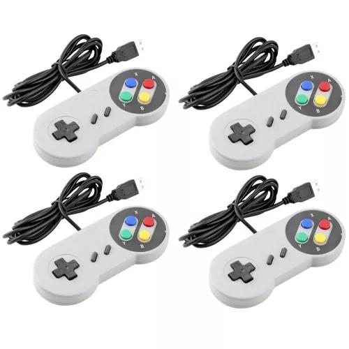 Controle Nintendo Usb Joystick Super Snes Jogos Pc - Kit 6un