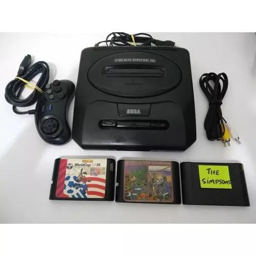 Mega Drive 3 Console Original 100% 1 Controle Original+jogos
