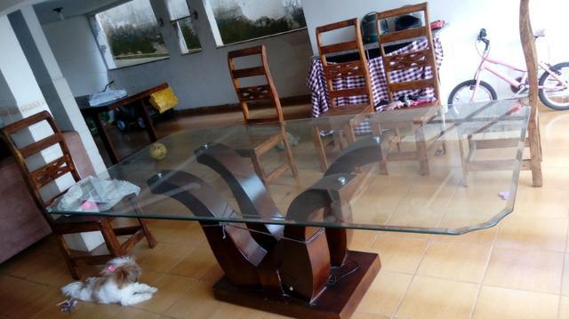 Mesa Vidro de 8 Cadeiras