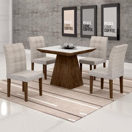 Mesa de Jantar com Tampo de vidro e 4 Cadeiras - wpp