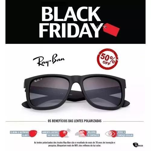Oculos De Sol Ray Ban Justin Rb4165 Preto Masculino Polariza