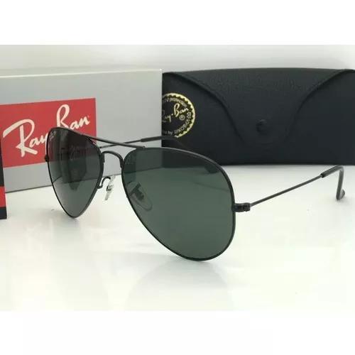Oculos De Sol Rayban Aviador Lente Cristal Preta