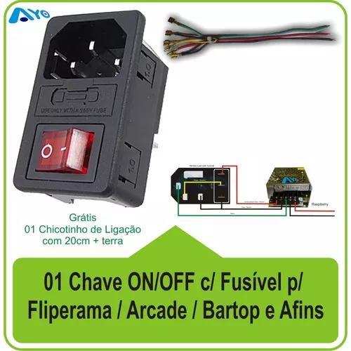 Tomada Chave On/off C/ Fusível + Brinde P/ Arcades E Afins