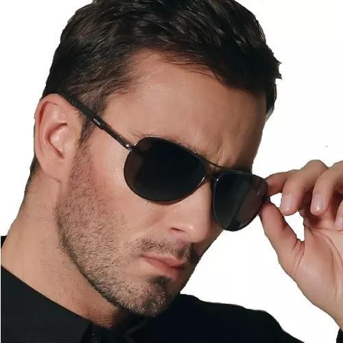 culos De Sol Aviador Escuro Masculino Luxo Proteção Uv