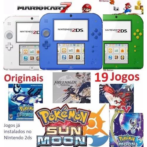 Nintendo 2ds + 20 Jogos Originais Pokémon Sun Mario Roda