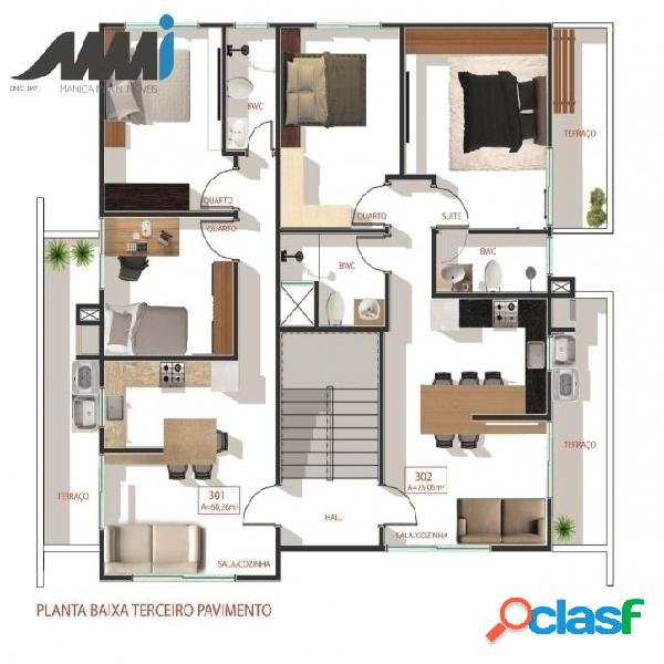 Apartamento 3 dormitórios sendo 01 suíte no Centro -