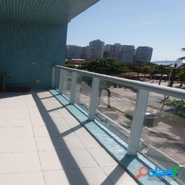 Guarujá Pitangueiras com varanda e vista para o mar