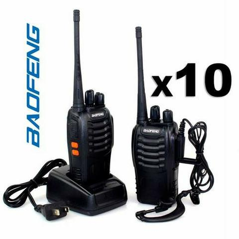 Kit 10 Rádio Comunicador Walk Talk Baofeng 777s 16 canais