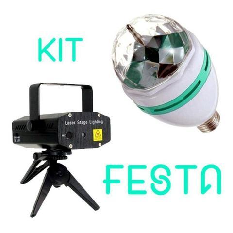 Kit Festas Projetor Laser + Lampada Led Giratoria Efeitos