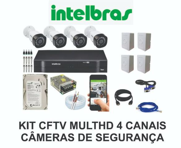 Kit DVR 4 câmeras hd Intelbras instalação inclusa