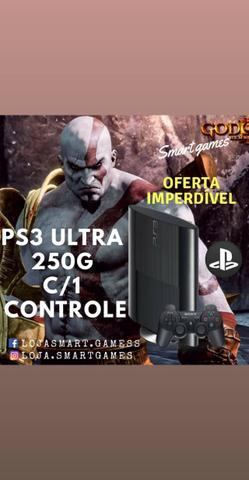 Ps3 super slim 250G c/1 controle +2 jogos