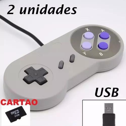 2 Controle Usb Super Nintendo Snes, Joystick, Jogos Brinde