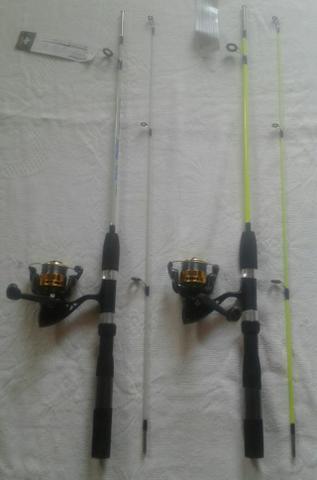02 varas de pesca 1,50 mt + 02 molinetes + 200 metros de