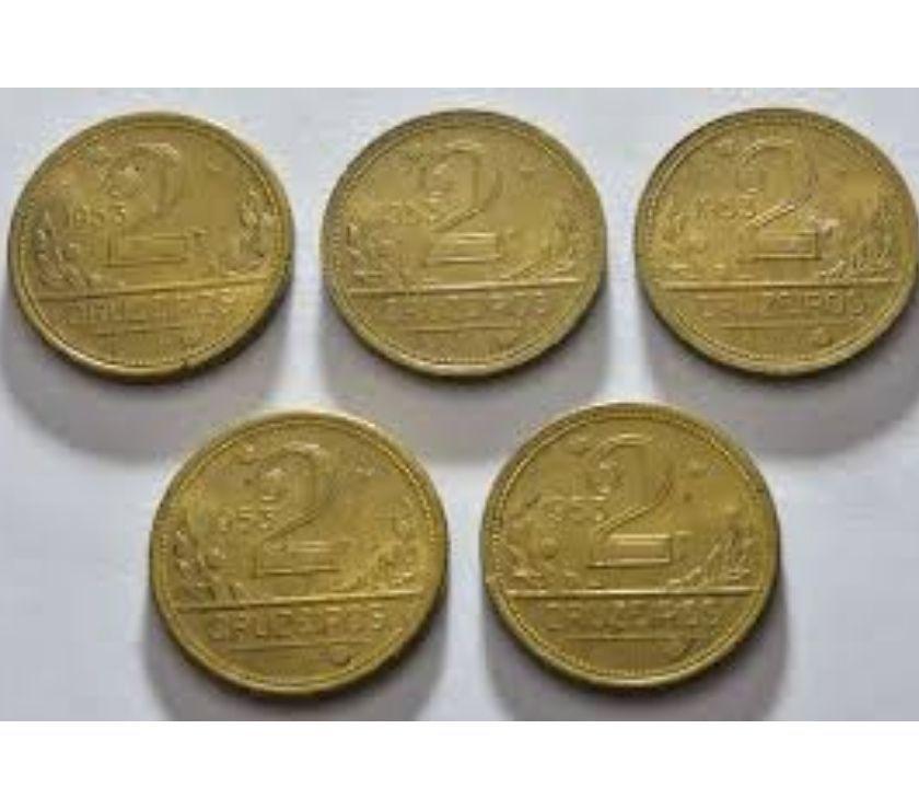 Vendo 708 moedas antigas de 2 cruzeiros amarelas  a