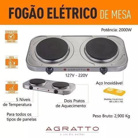 Fogão Elétrico Inox Portátil De Mesa 2 Bocas Agratto 127v