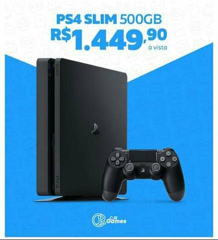 PS4 SLIM 500GB A - Playstation 4 Slim Novo / lacrado, e