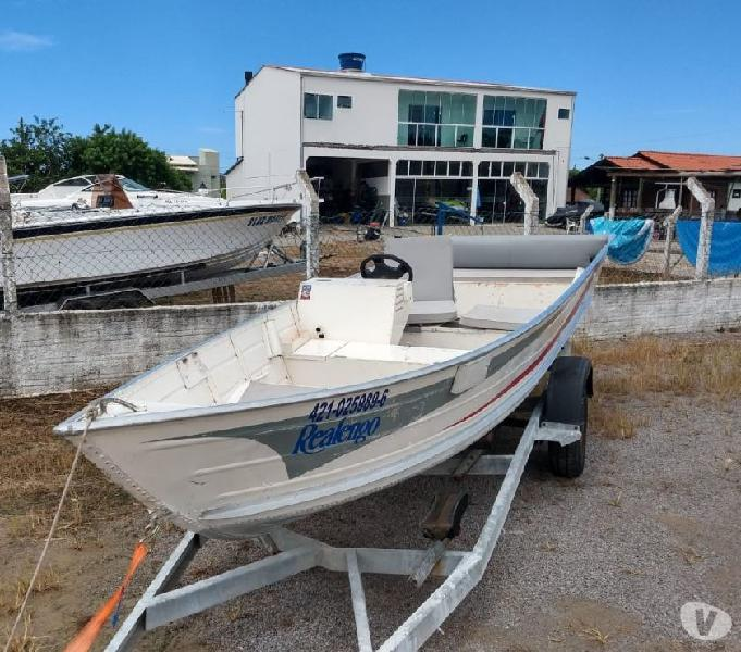 Conj barco 6m + motor de popa 25hp + reboque 6m