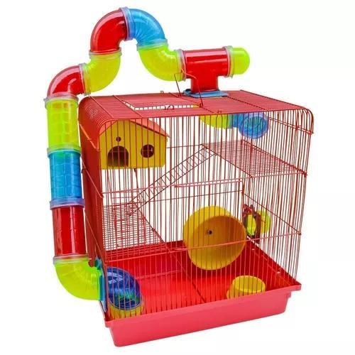 Gaiola Hamster 3 Andares Tubo Luxo - Vermelha