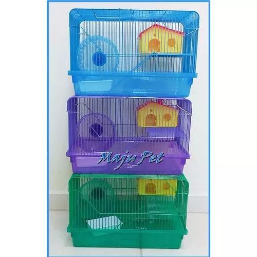 Gaiola Para Hamster 2 Andares Roxa/verde/azul