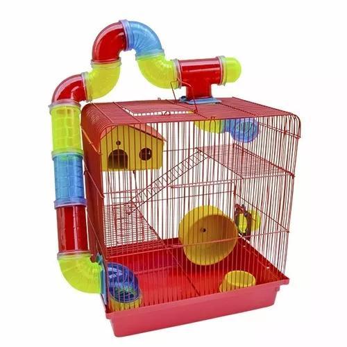 Gaiola Para Hamster Luxo 3 Andares Tubos Labirinto Rodinha