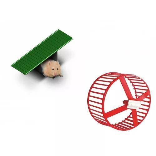 Kit Brinquedos Para Hamster Roda De Exercícios E Gangorra