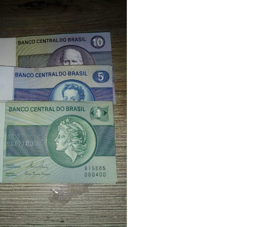 Cédulas de 1,5 e 10 Cruzeiros dos anos 80 mbcsob.